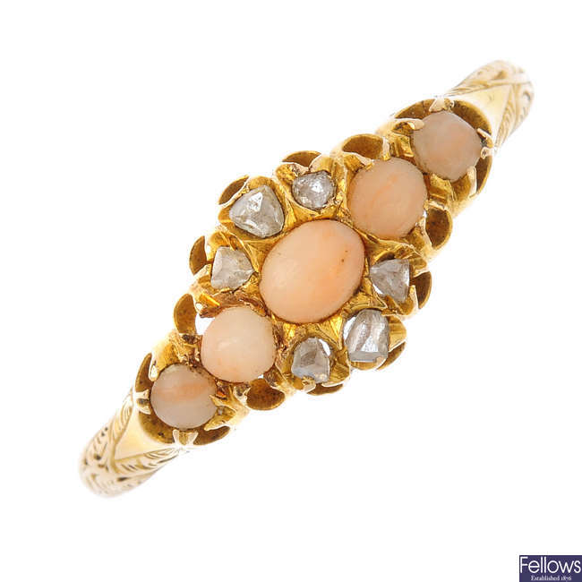 A late Victorian 15ct gold coral and diamond ring.