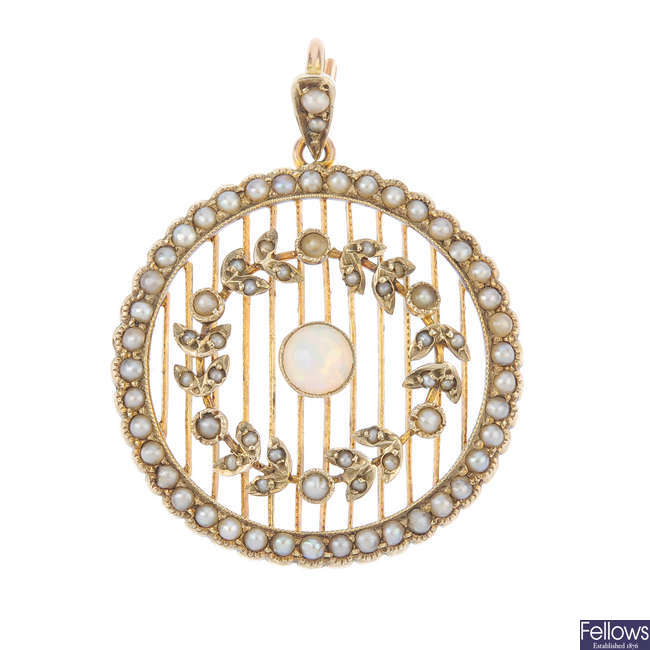 An early 20th century 9ct gold opal and split pearl pendant.