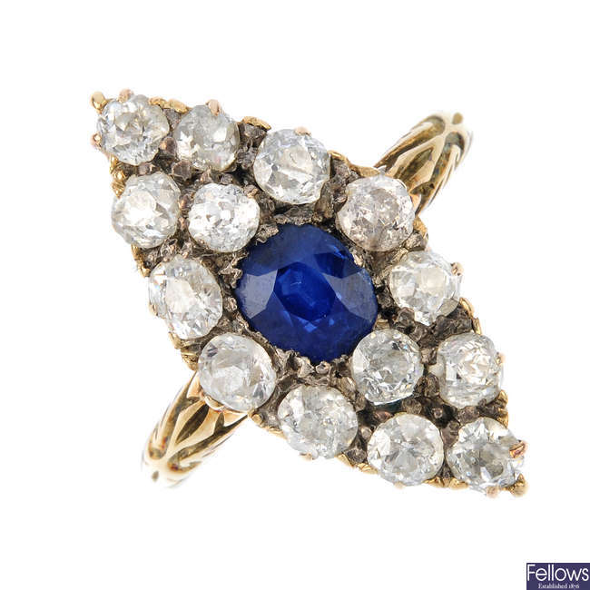 A late Victorian gold sapphire and diamond cluster ring, circa 1880.
