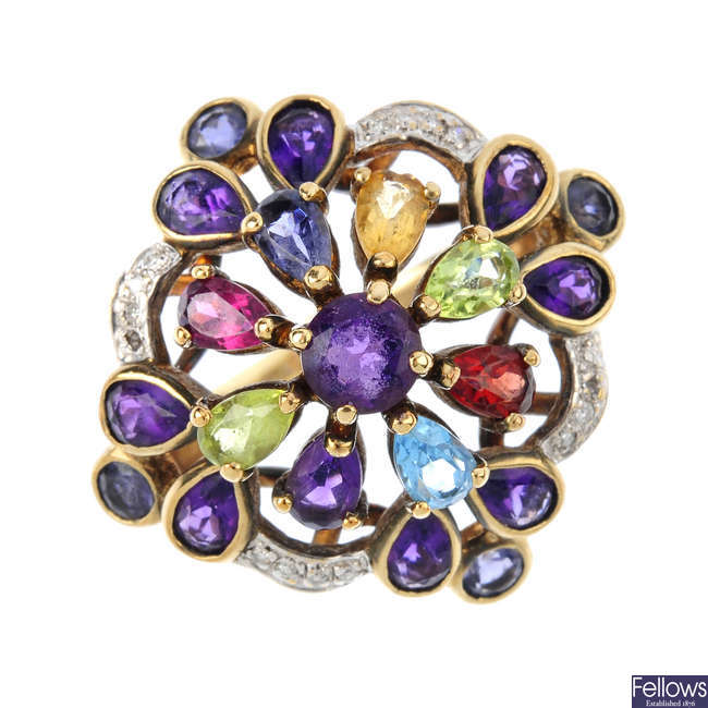 A 9ct gold diamond and multi-gem dress ring.