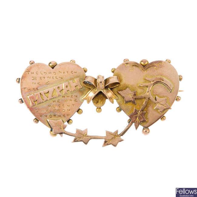A late Victorian 9ct gold Mitzpah brooch.