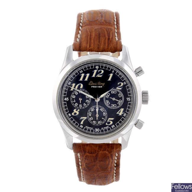 BREITLING - a gentleman's stainless steel Navitimer Premier chronograph wrist watch.