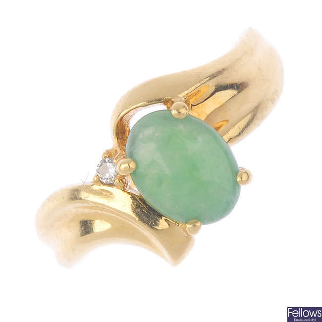 A jade and diamond ring.