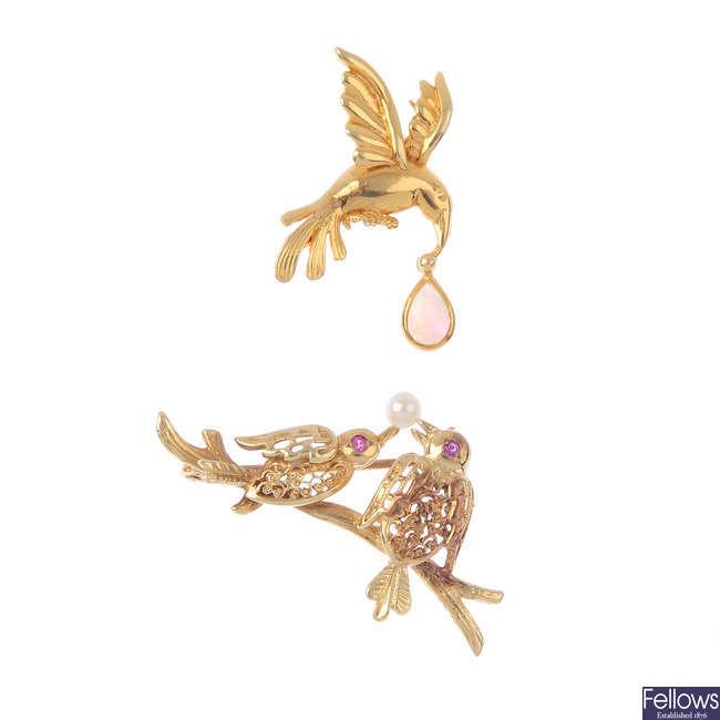 Two gem-set bird brooches.