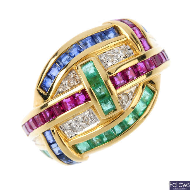 A diamond, ruby, sapphire and emerald dress ring.