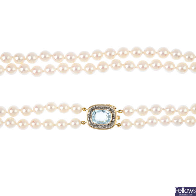 A cultured pearl two-row necklace.