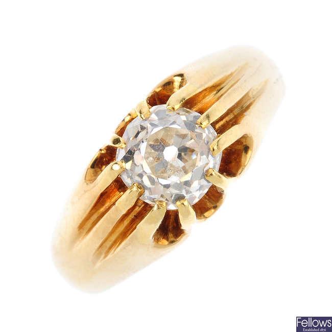 A gentleman's early 20th century diamond single-stone ring.