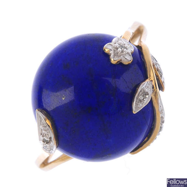 A 9ct gold diamond and lapis lazuli ring.