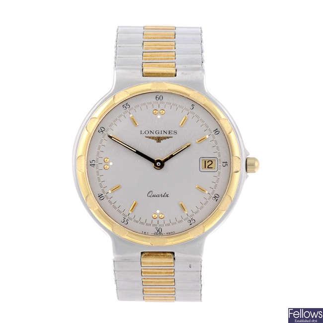 LONGINES - a mid-size bi-colour Conquest bracelet watch.