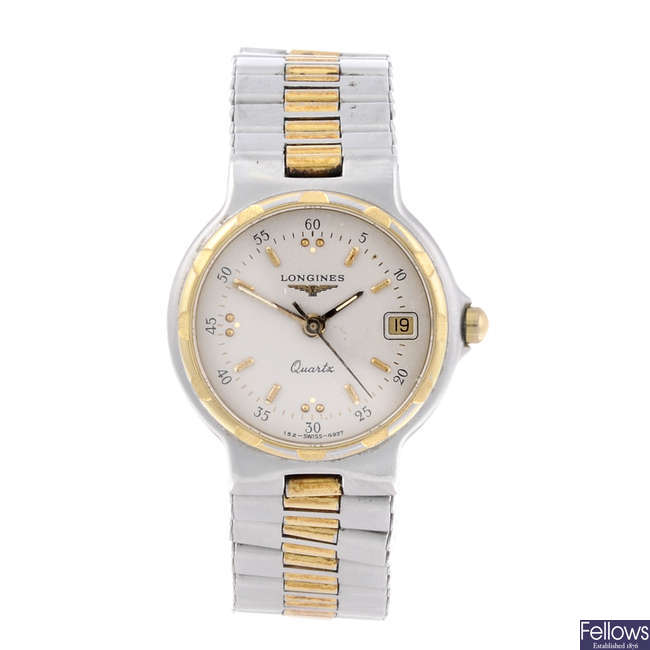LONGINES - a lady's bi-colour Conquest bracelet watch.
