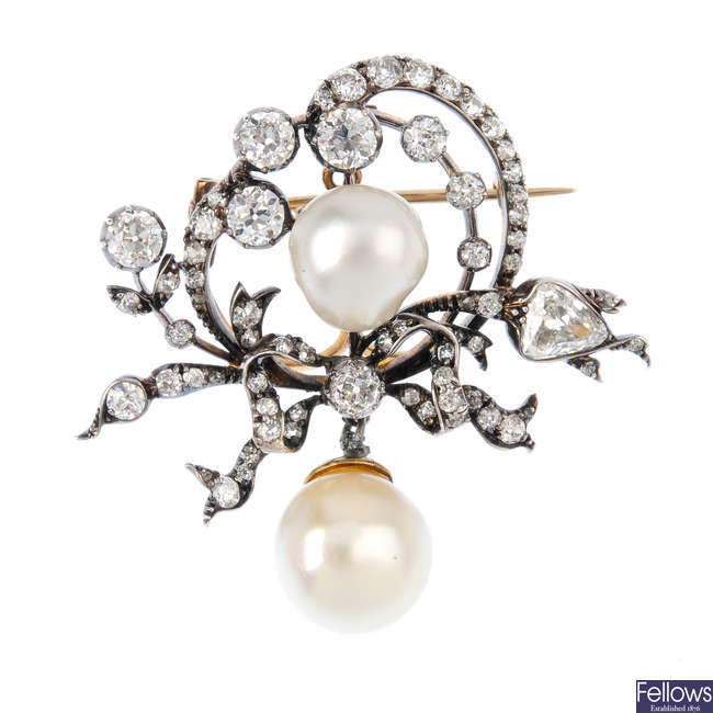 A mid Victorian pearl and diamond brooch.