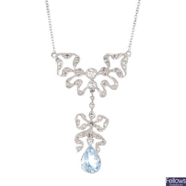 An aquamarine and diamond necklace.