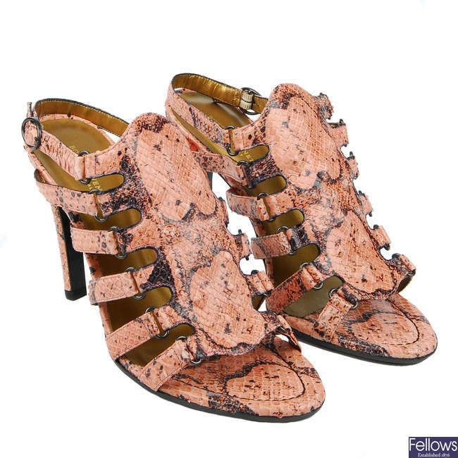 BOTTEGA VENETA - a pair of Pitone Edoardo heeled sandals.