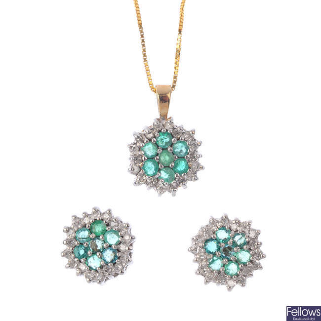 A set of 9ct gold emerald and diamond jewellery.