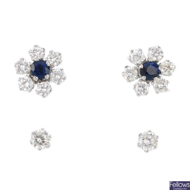 A pair of 18ct gold convertible sapphire and diamond cluster earrings.