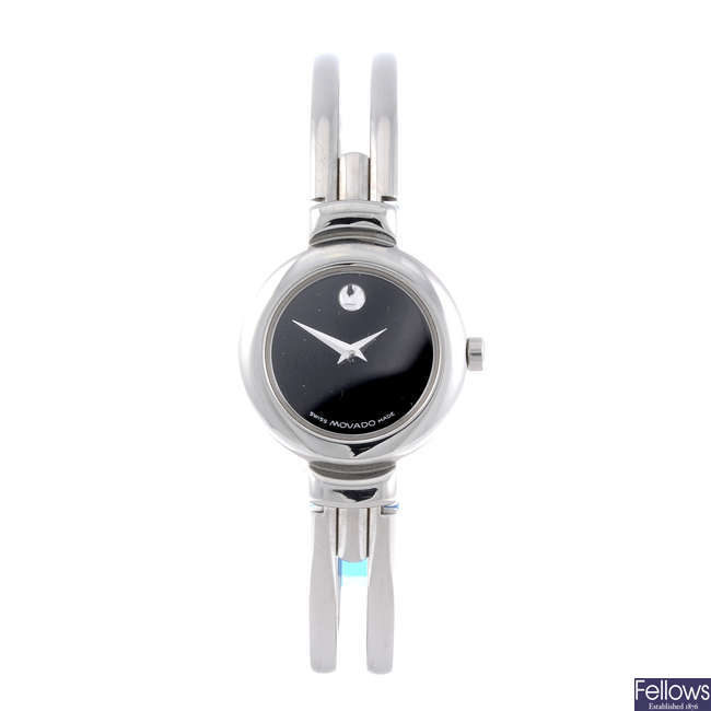 MOVADO - a lady's stainless steel Harmony bangle watch.
