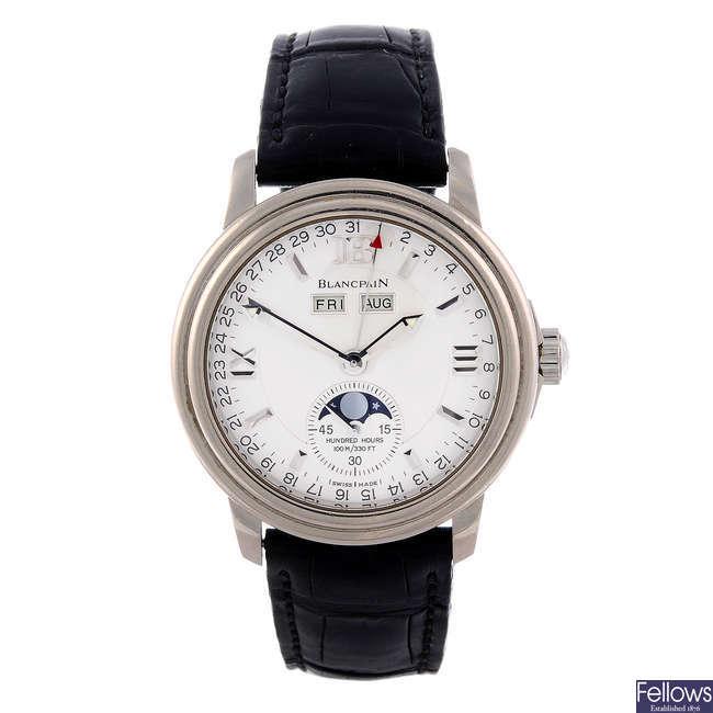 BLANCPAIN - a gentleman's 18ct white gold Leman Moon phase wrist watch.