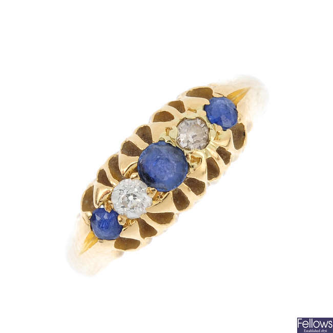 An Edwardian 18ct gold sapphire and diamond five-stone ring.