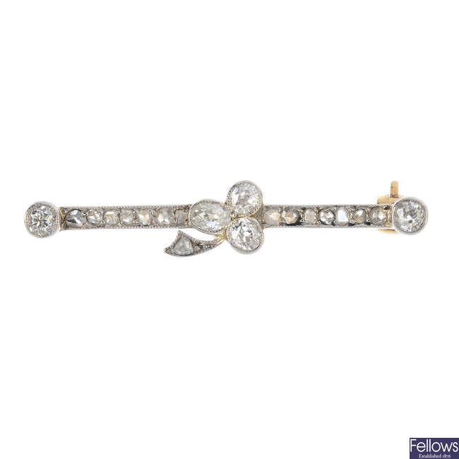 An early 20th century diamond bar brooch.
