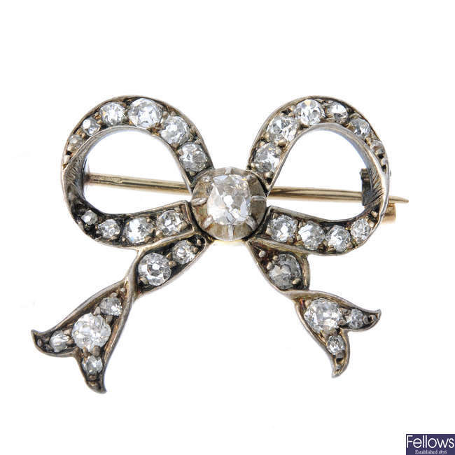 A late Victorian diamond bow brooch.