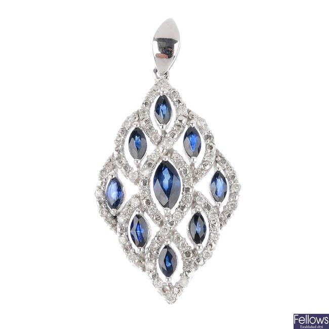 A 9ct gold sapphire and diamond pendant.