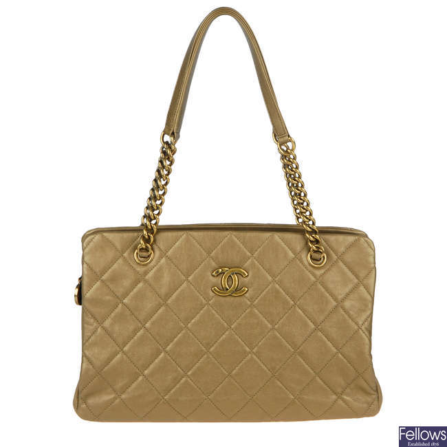 CHANEL - a bronze leather Small Crown handbag.