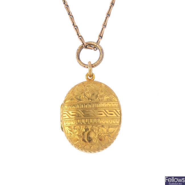 A mid Victorian locket, with 9ct gold chain.
