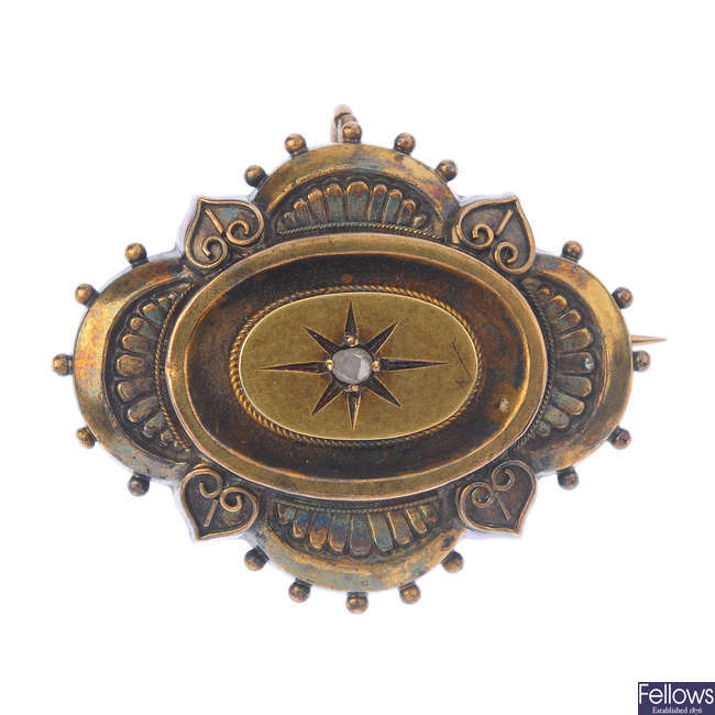 A late 19th century diamond memorial brooch.