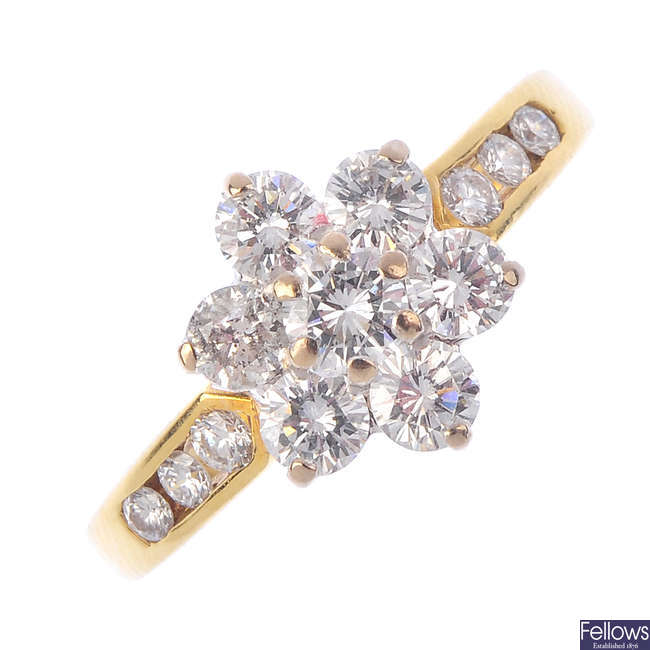 An 18ct gold diamond floral cluster ring.