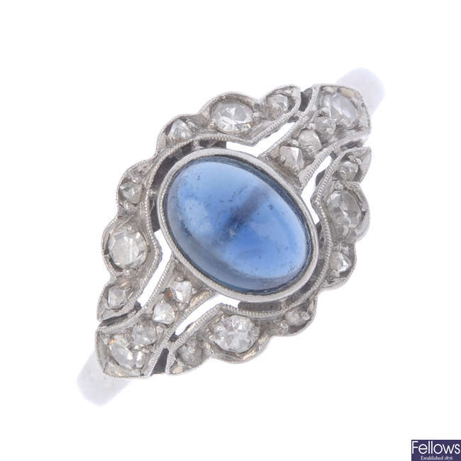A mid 20th century sapphire and diamond ring.