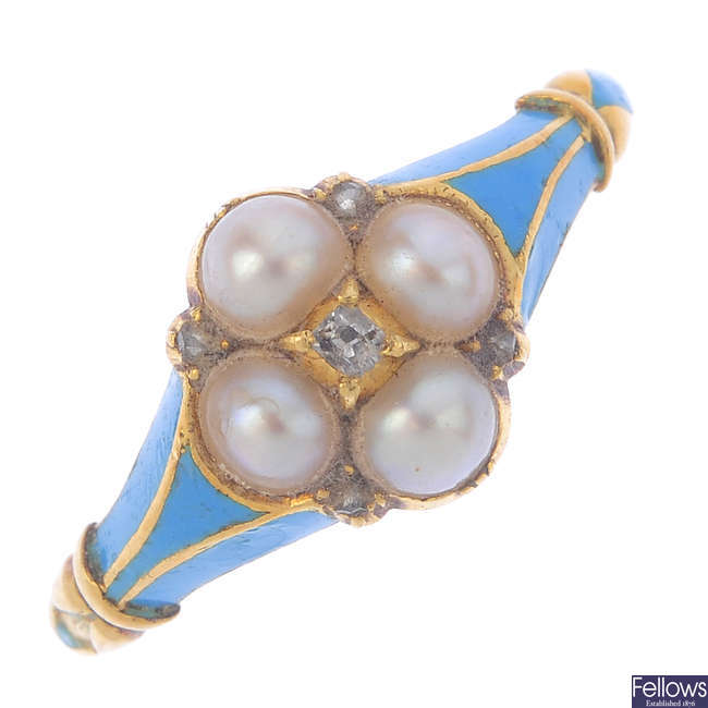 A late Victorian gold enamel, split pearl and diamond ring.