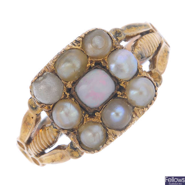 An opal and split pearl panel ring.