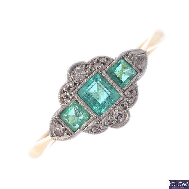 A mid 20th century 18ct gold and platinum, emerald and diamond ring.