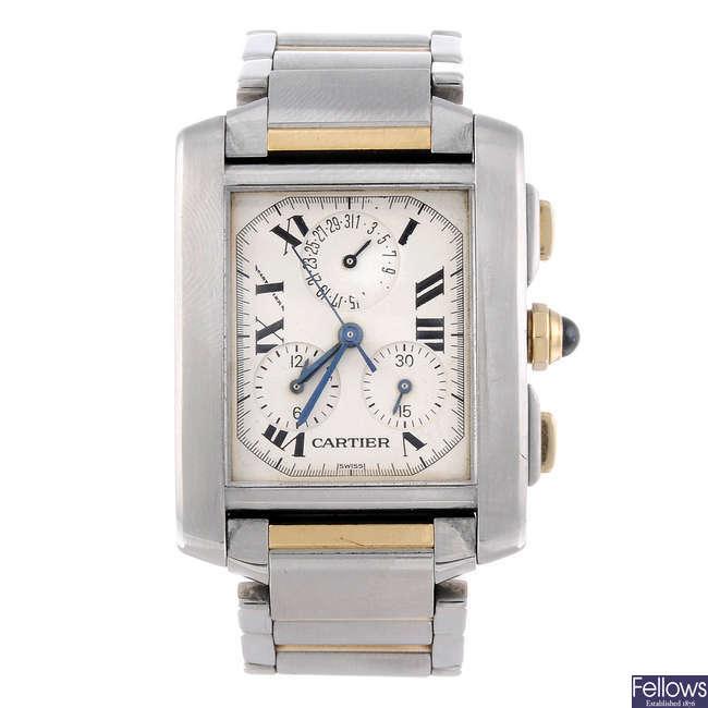 CARTIER - a bi-metal Tank Francaise Chronoflex bracelet watch.