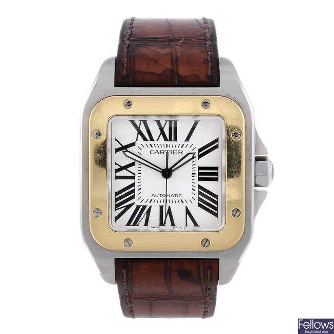 CARTIER - a bi-metal Santos 100 wrist watch.
