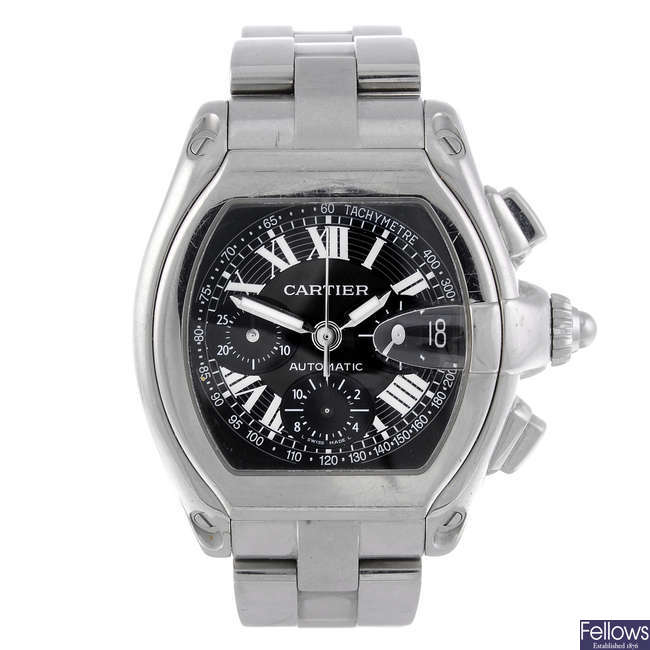 CARTIER - a stainless steel Roadster chronograph bracelet watch.