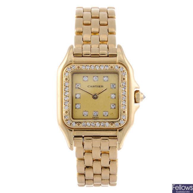 CARTIER - a yellow metal Panthere bracelet watch.