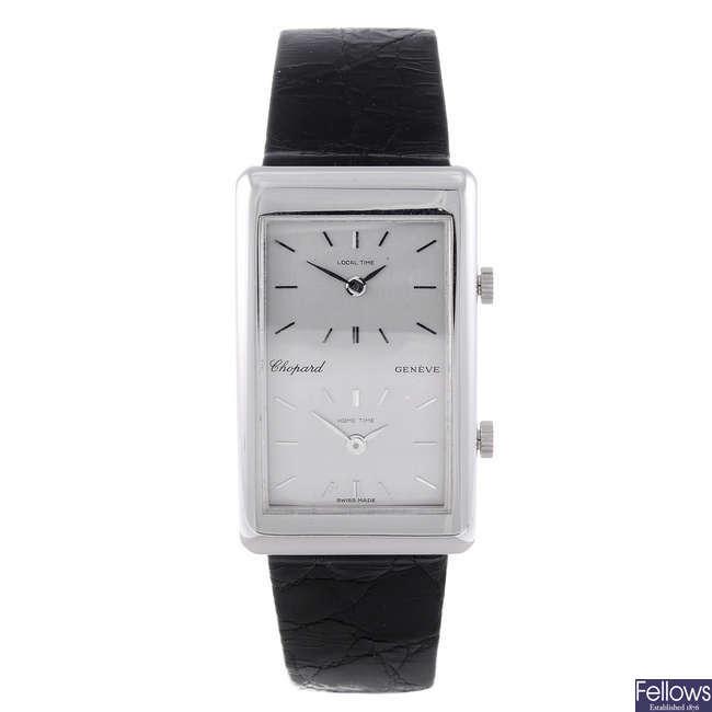 CHOPARD - a 18ct white gold Dual Time wrist watch.