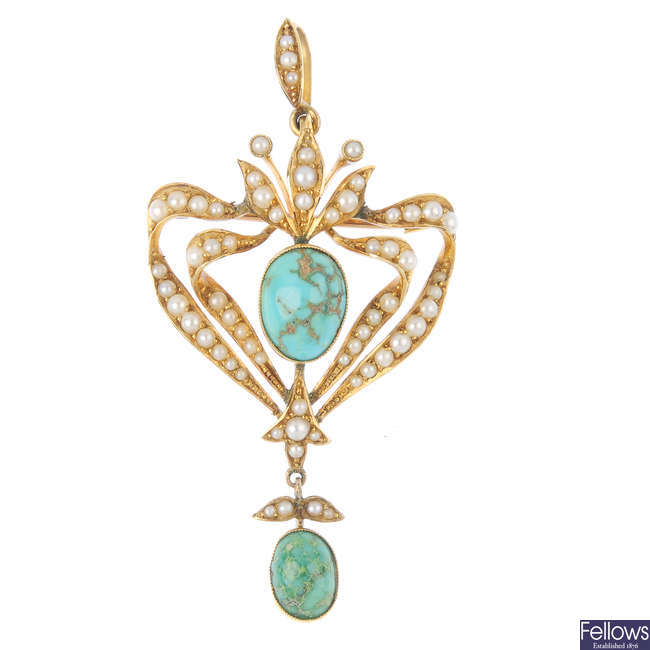 An Edwardian 15ct gold turquoise and split pearl pendant.