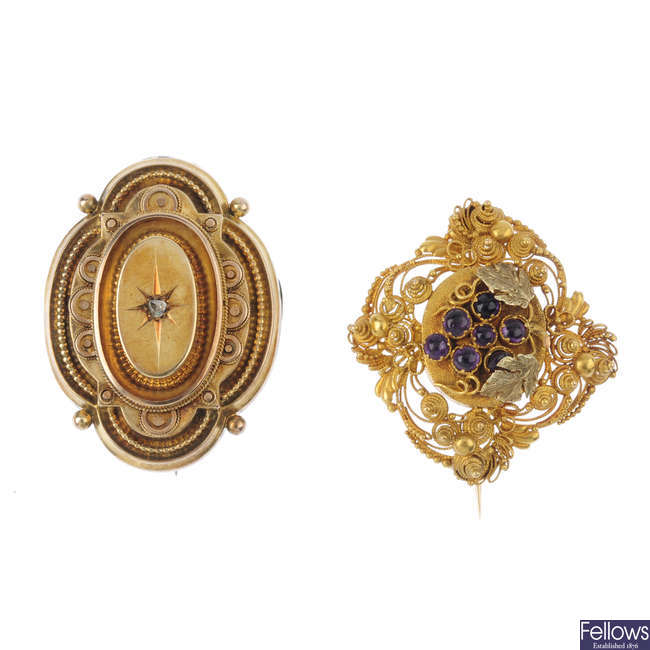 Two 19th century brooches.