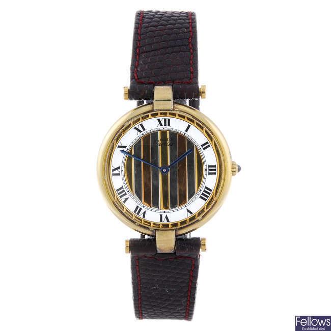 CARTIER - a gold plated Must de Cartier Vendome wrist watch.
