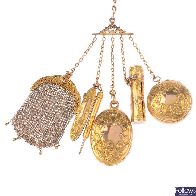 A late Victorian 9ct gold chatelaine.