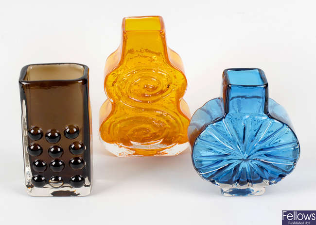 Three Geoffrey Baxter for Whitefriars glass vases, plus assorted glassware