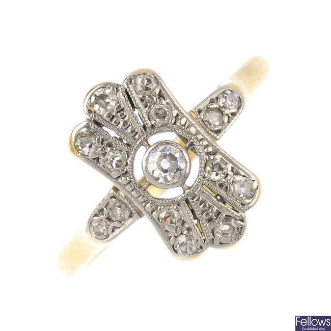 An early 20th century diamond dress ring.