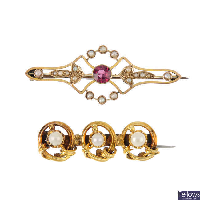 Two early 20th century split pearl and gem-set brooches.
