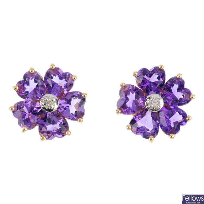 A pair of 9ct gold amethyst and diamond floral cluster earrings.