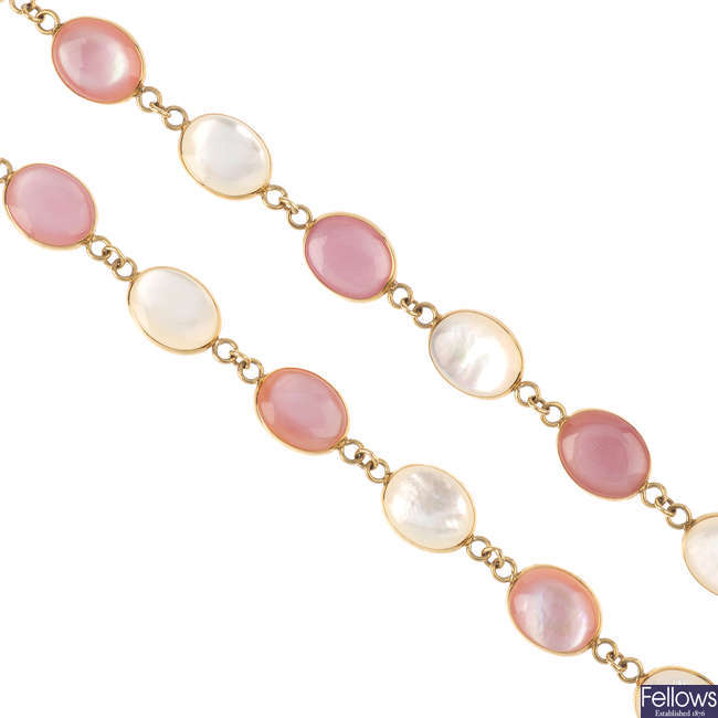 A mother-of-pearl necklace.