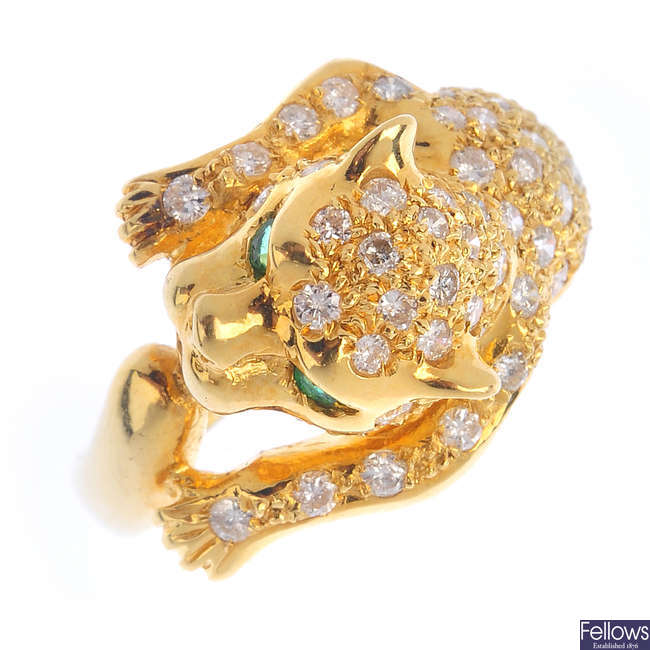 A diamond leopard ring.