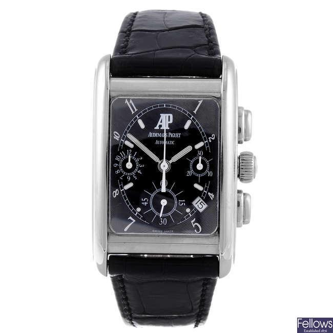 AUDEMARS PIGUET - a gentleman's Edward Piguet 18ct white gold chronograph wrist watch.
