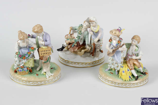 Three (of four) Dresden porcelain 'Seasons' figure groups, plus three other figures.